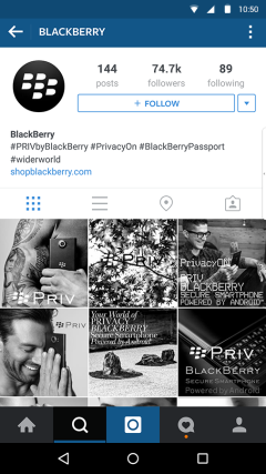 Instagram BlackBerry PRIV