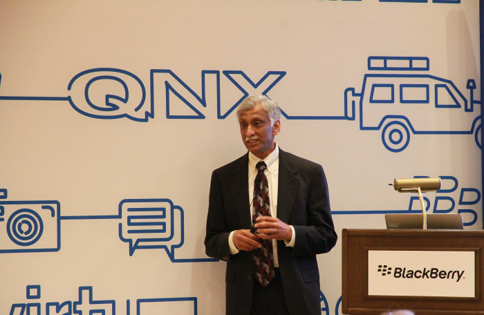Sandeep Chennakeshu, President of BlackBerry Technology Solutions, unveils new automated driving and acoustic solutions from QNX.