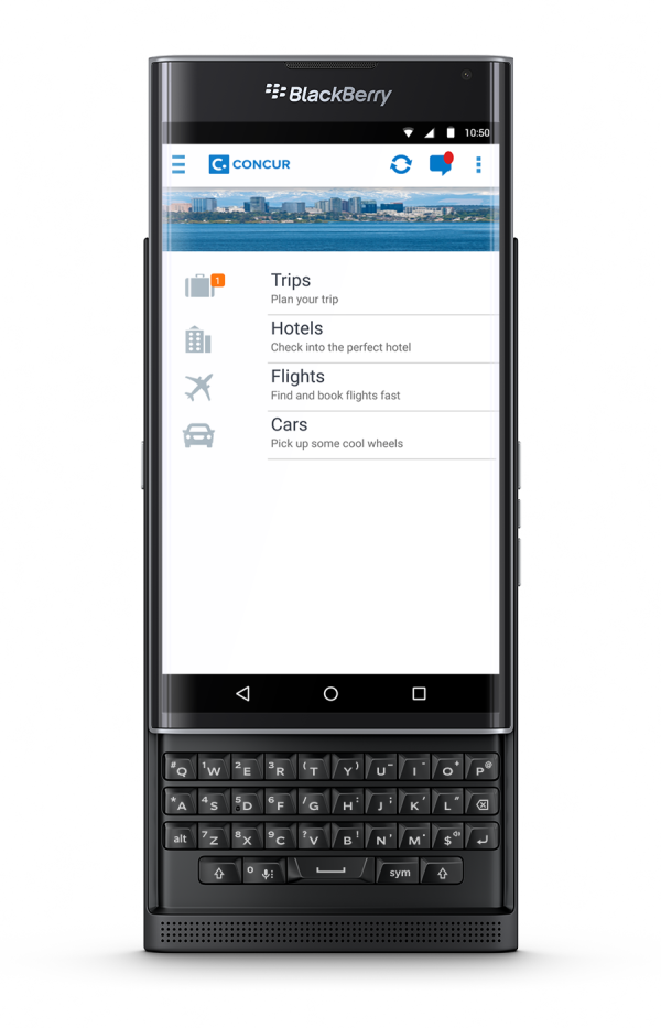 Concur travel management app for PRIV