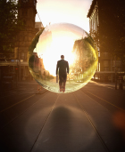 Businessman in bubble walking on city street